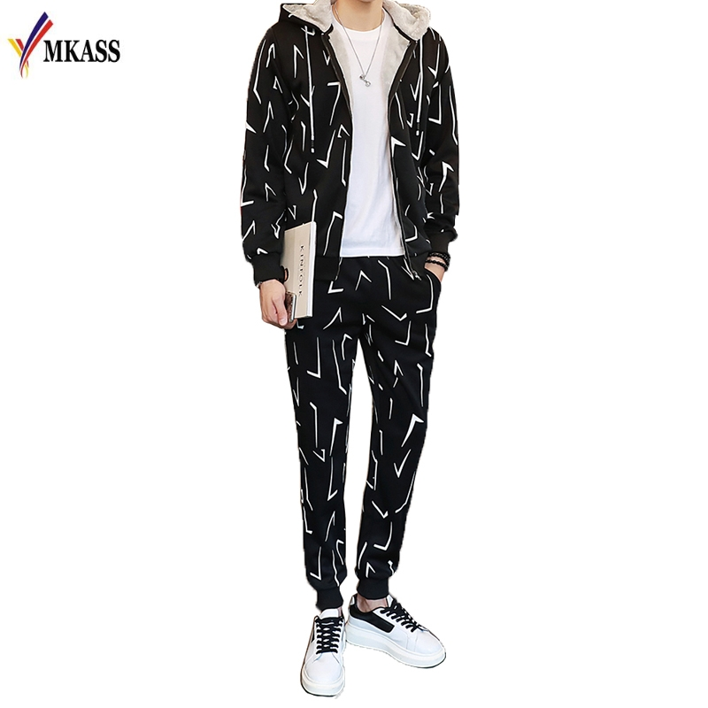 High Quality 2018 Casual 2 Piece Set Mens Autumn Sweatshirt Hoodies + Pants Plus Size 5XL Sporting Tracksuits Man