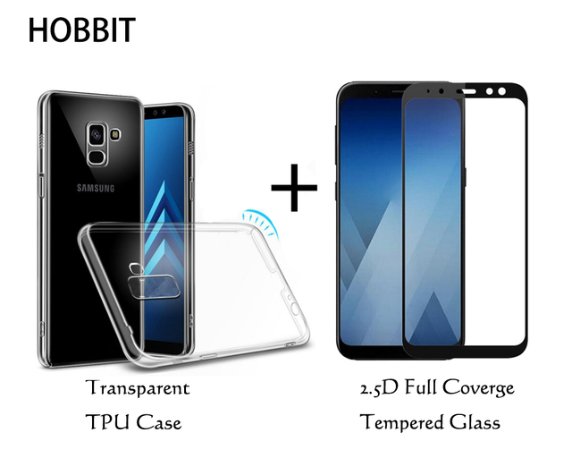 promo code b7aee 228ff US $7.1 21% OFF|For Samsung Galaxy A6 2018 / A6 Plus 2018 Transparent Soft  TPU Back Cover Case 9H 0.3MM 2.5D Full Coverage Tempered Glass Film -in ...