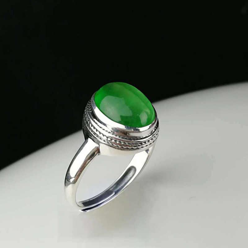 รับประกันแหวนเงิน 925 หยกสีเขียวธรรมชาติ Midi แหวนออกแบบอัญมณีปรับเครื่องประดับ Anillo Mujer