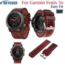 Leather Watch Band Strap For Garmin Fenix 5X/5X Plus Bracelet Belt 26MM 3 5X Quick Release wristband
