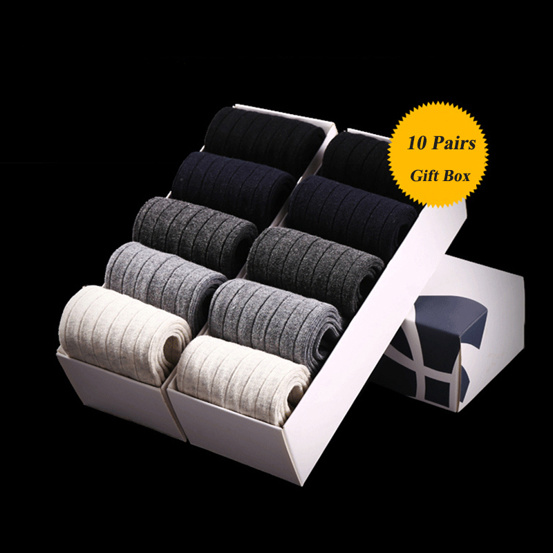 10 Pcs/ Lot 2019 Men's Cotton Socks New style Black Business Men Socks Breathable Autumn Winter for Male US size(7.5-12)