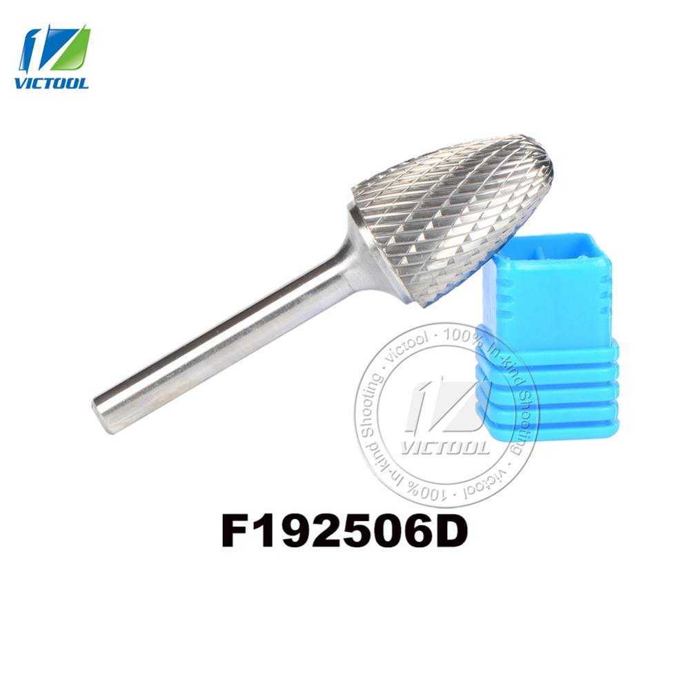 tungsten carbide F arc round head 19*25mm rotary burr file cutter grinding abrasive tools 1pcs F192506D 6mm shank milling tools 6pcs lot carbide rotary file carbide burrs tungsten steel grinding head wood carving tools mini drill 6mm shank polish grind