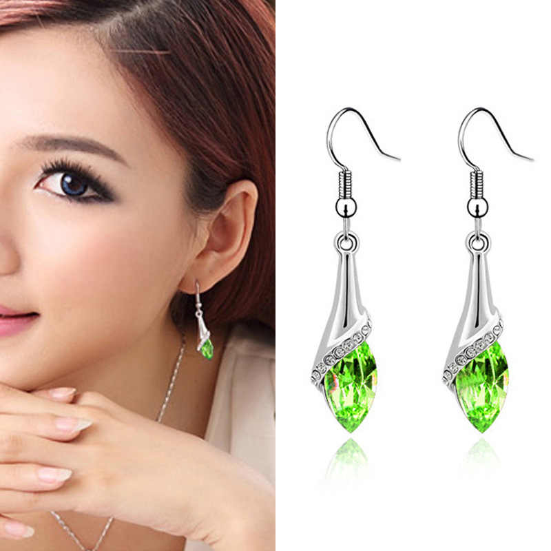 Fashion Jewelry Women Triangle Earring with red ball decoration Long Drop Earring for young Girl Gift Jewelry Wholesal