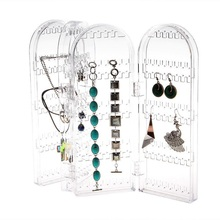 Earrings Display Stand Clear Transparent Acrylic Display Stand Holder Rack Jewellery Folded 4 Sides Storage Display Jewelry Rack цена