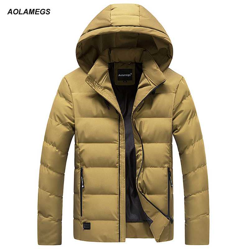 Aolamegs Down Jacket Men Solid Colorful Thick Hooded Winter Jacket Men Stand Collar Parkas Fashion Casual Windproof Coat Mens