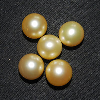 11 12mm AAA Round Half Hole Natural Real Natural Gold Sea Water South Sea Pearl for Pendent