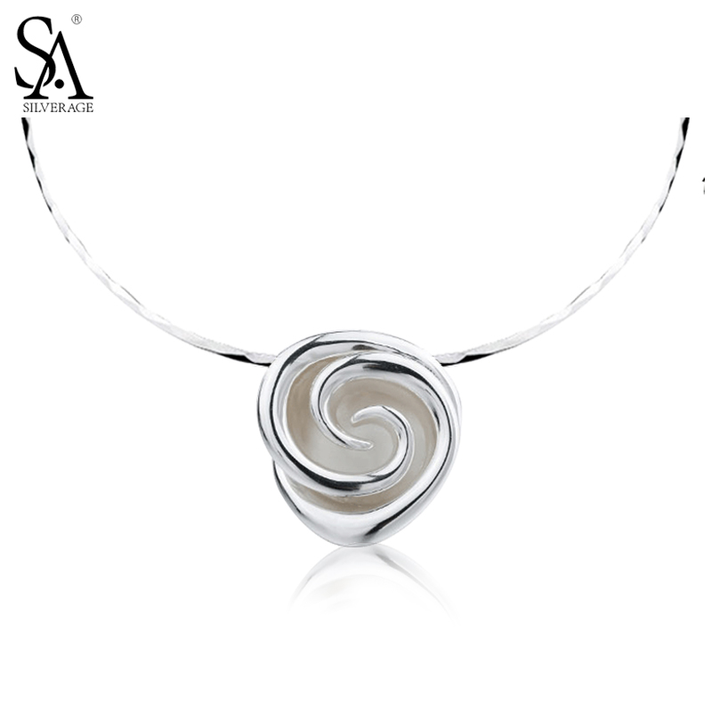 SA SILVERAGE Real 925 Sterling Silver Rose Flower Choker Necklace Women Silver Flower maxi necklace collier collares mujer 925 silver plated flower necklace