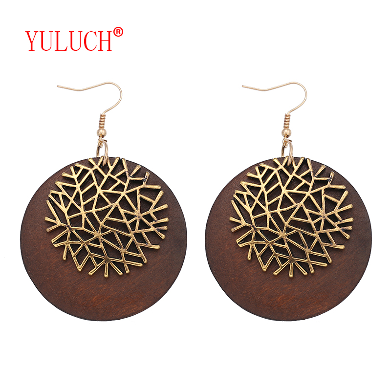 YULUCH Vintage African Ethnic Woman Earrings New Design Accessories for Wooden Round Zinc Alloy Snowflake Pendant Gift