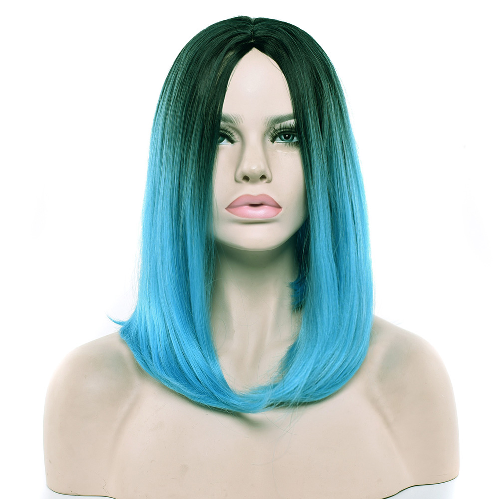 Soowee 12 Colors Ombre Blue Wig Synthetic Hair Short Wigs