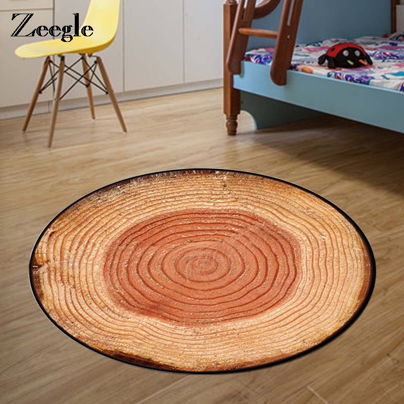 Country Style Tree Rings Wood Round Rug