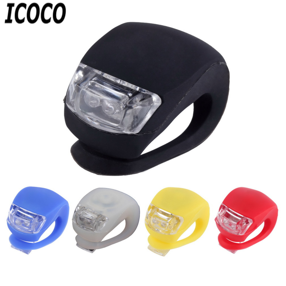 In Bright Silicone Bike Bicycle Cycling Head Front Rear Tail Led Flash Light Lamp Novel Design;