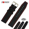 22mm Rubber Watchbands Strap Stainless Steel Fold Buckle Black Red Stitched Waterproof Diving Silicone Watch Band Straps