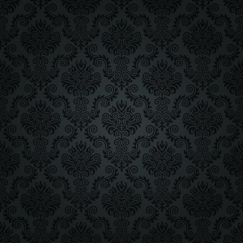 8x8FT Dark Damask Black Baroque Pattern Wall Custom Backdrop Photo