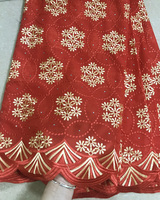 Free shipping (5yards/pc) very beautiful embroidered Swiss voile lace red and gold African cotton lace fabric for dress CLS162