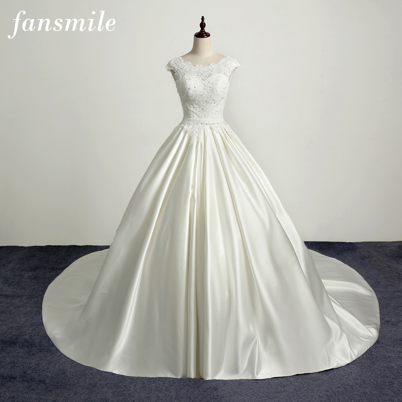 Fansmile Korean Vintage Lace Long Train Ball Wedding Dresses 2017 Satin Plus Size Bridal ...