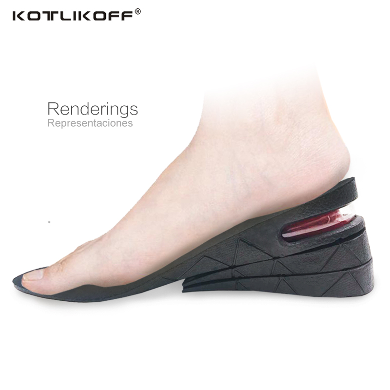 KOTLIKOFF Height Increase Insoles 3-Layer 6CM Adjustable Air Cushion Invisible Lift Pads soles for shoes inserts men and women