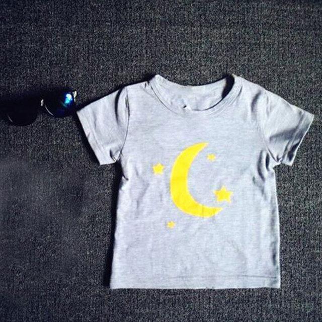 2016 lua e estrelas de algodão bebê meninas camiseta branca de manga curta roupas para crianças roupas