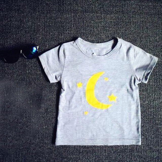 2016 the moon and stars T shirt Cotton Short Sleeve Baby Boy Girls T Shirts Children White gray Clothing for Kids Clothes