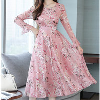 Plus Size Fashion Autumn Winter Boho Women Dress O Neck Sexy Chiffon Dresses Floral Print Party Dress Vestidos mujer Robes