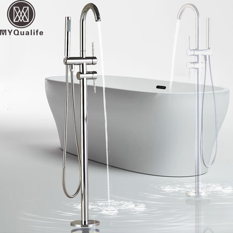 Chrome Floor Mounted Bath Tub Faucet Clawfoot Free Standing Bath Mixer Tap with Handshower Single Lever Bathtub Faucet
