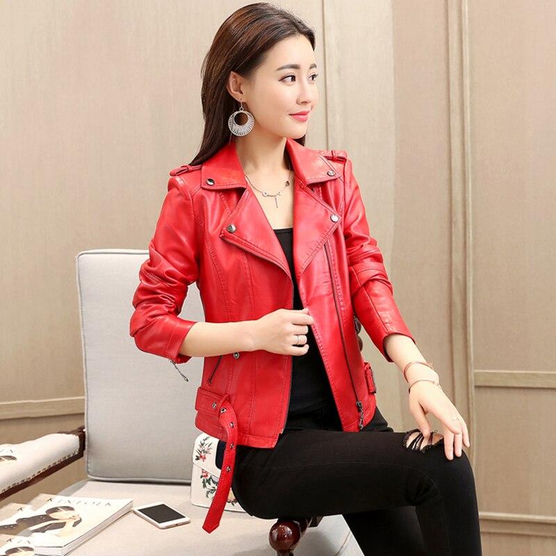 M-4xl Rushed Plus Size Summer Women Pink Short Locomotive Leather Jacket 2018 Autumn New Fashion Bomber Casual Coat No281