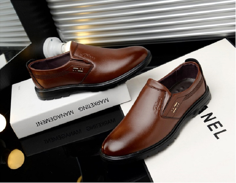 SpringAutum mens dress Business shoes casamento PU Leather Rubber Sole Breathable Waterproof Slip-On Hard-Wearing YC216 (9)