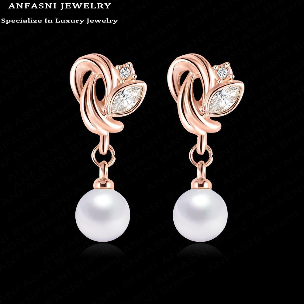 ANFASNI Pearl Earrings For Women Rose Golden Color SWA Stellux Burning Love Earrings Inl ...
