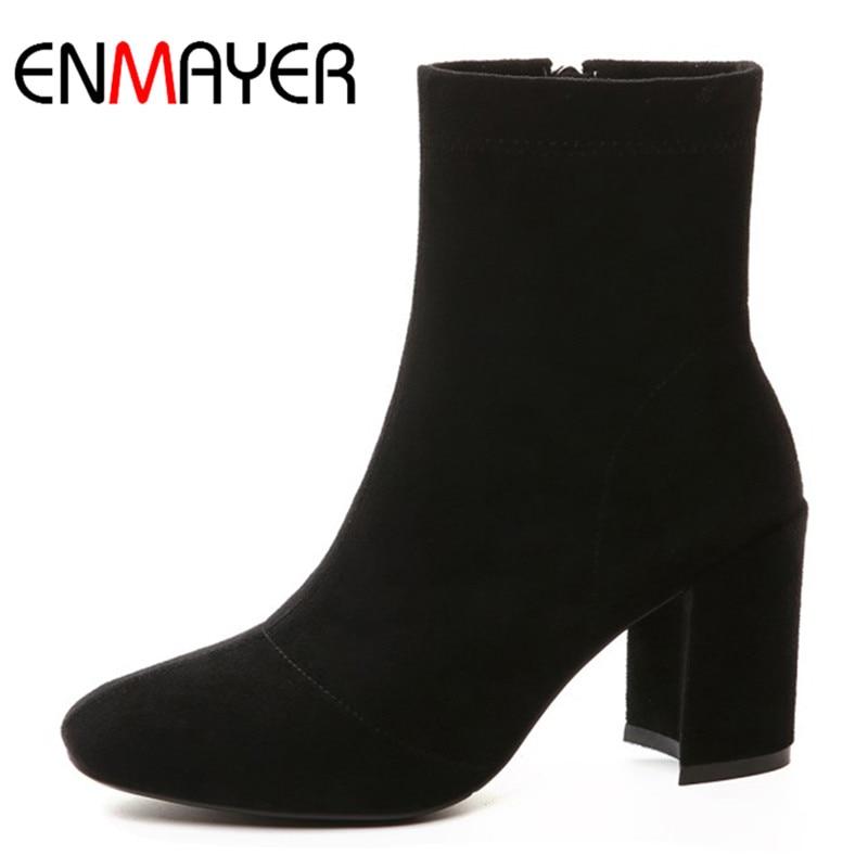 ENMAYER ковбойские сапоги обувь женщина высокие каблуки круглый носок ботильоны для женщин большой размер 34-43 Алып-на высокое качество обуви