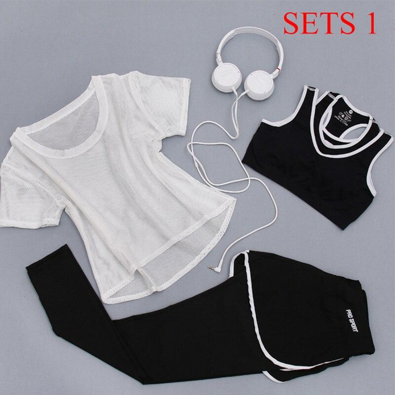 Женский спортивный костюм из 3 предметов, комплект для занятий фитнесом и йогой, футболка, бюстгальтер и шорты, спортивный комплект, спортив...