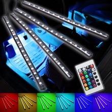 4 шт. стайлинга автомобилей Беспроводной Дистанционное управление Красочные RGB водить авто пол салона автомобиля декоративные полосы свет лампы Атмосфера 12 В