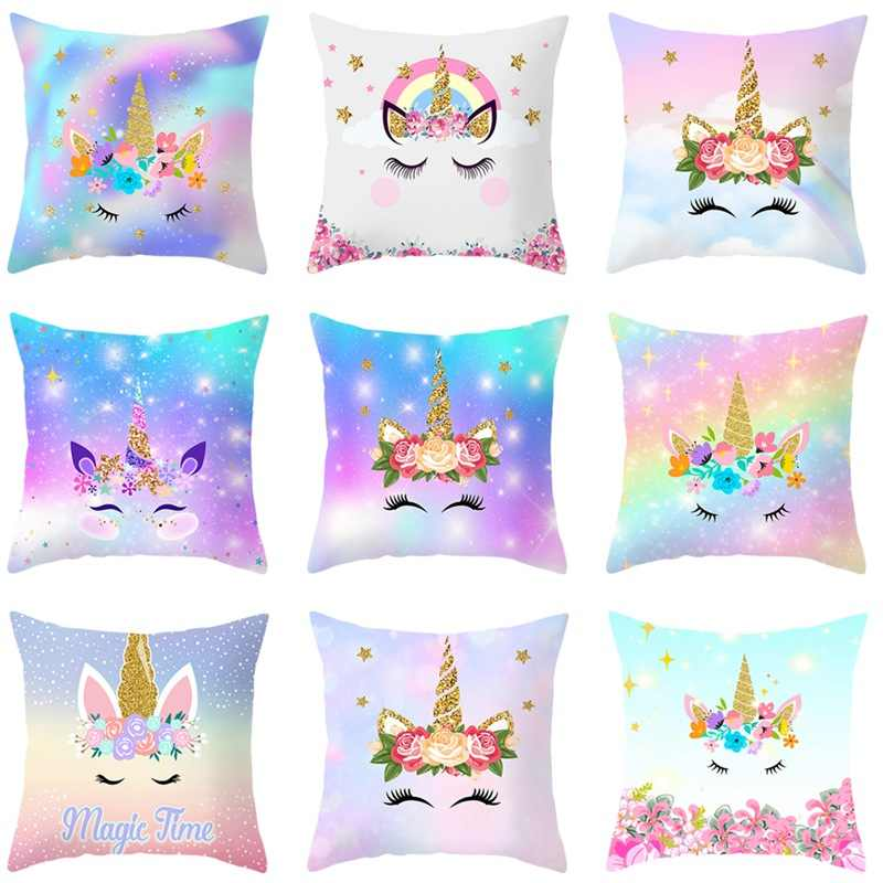 Cute Unicorn Cushion Cover Cartoon Animal Cat Flamingo Polyester Throw Pillow Case Cover  Unicorn Decoration Pillowcases