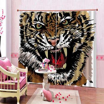 Blackout 3d Curtain HD Ferocious Tiger Figure Interior Decorating Window Curtains