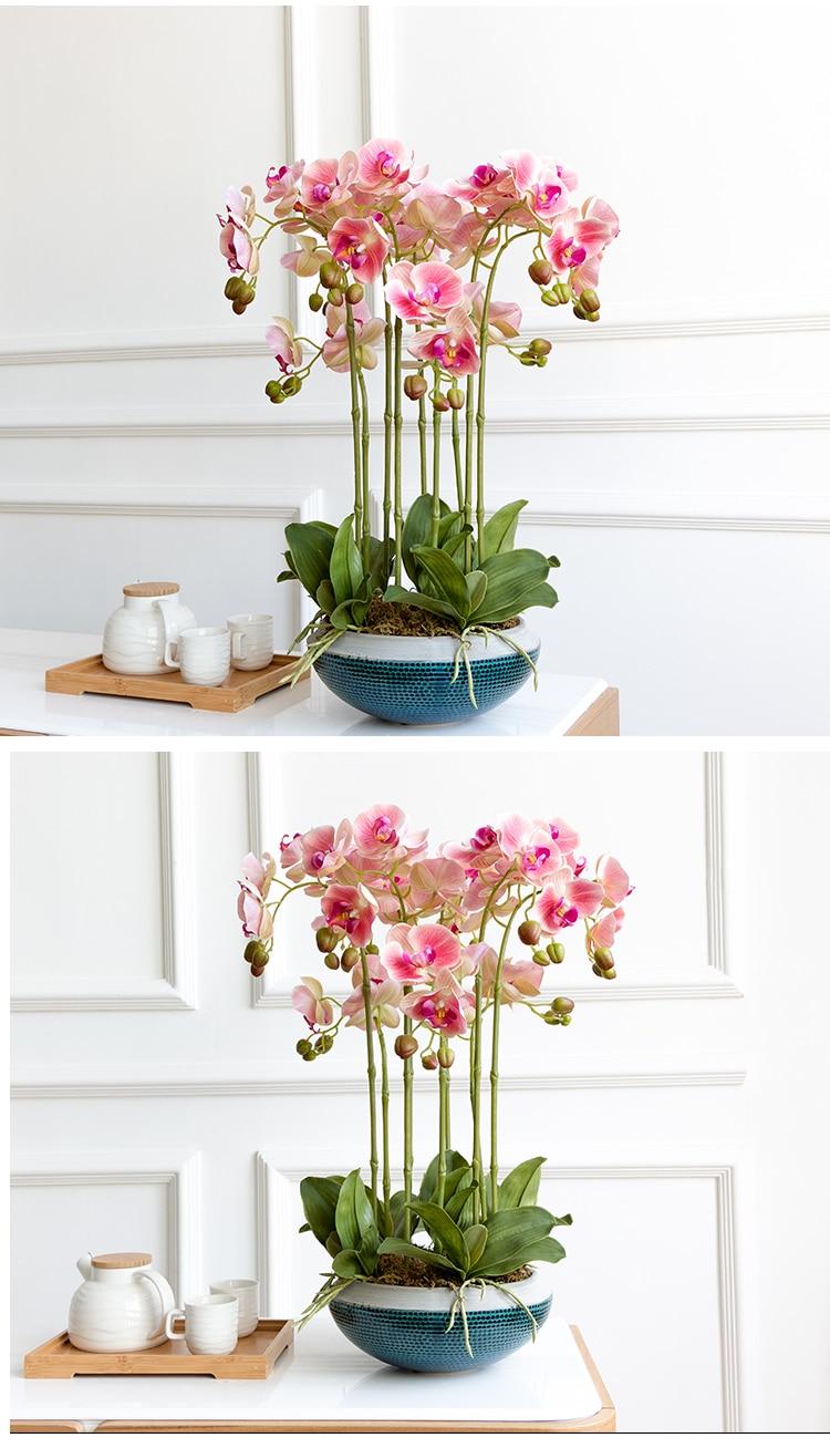Neue Ankunft 3d 90 Cm Künstliche Blume Phalaenopsis Latex Beschichtung Seide Blume Real Touch Orchidee Orchidee Multicolor Hochzeit Haus & Garten