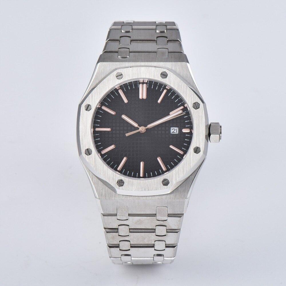 Montre-bracelet automatique hommes montre saphir cristal 41mm acier inoxydable bracelet mouvement argent boîtier f-285
