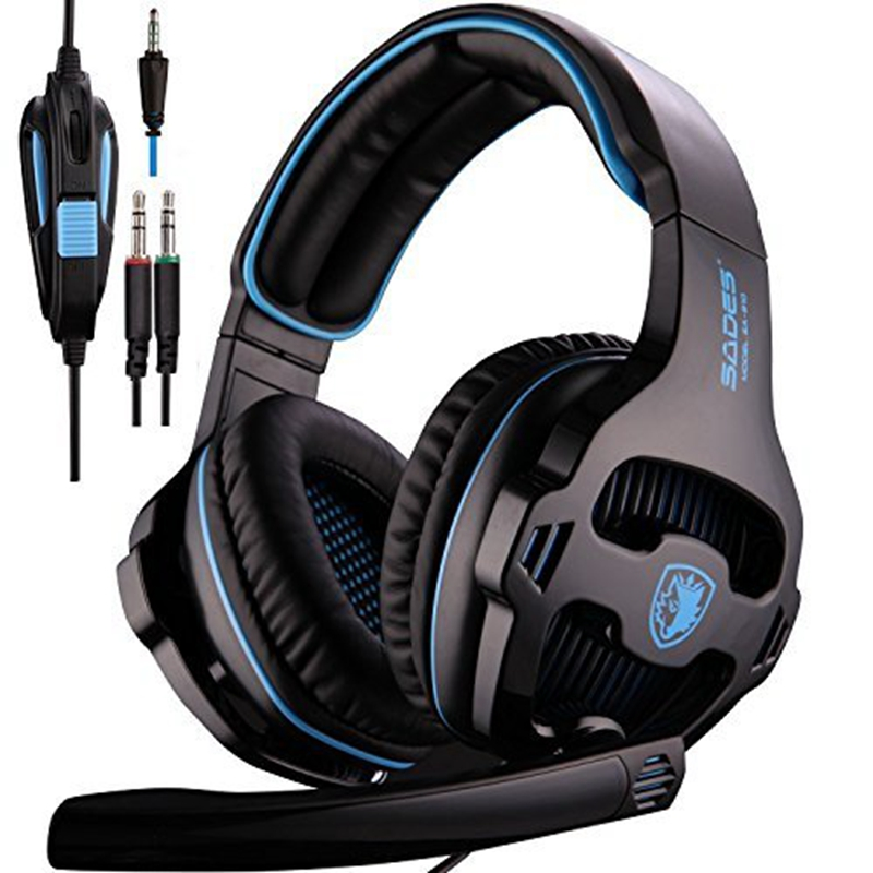 SADES SA810 New Xbox One PS4 Gaming Headset Over-ear Bass PC Gaming Headphones Noise Isolating Leather Earmuffs with Microphone