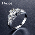 UMODE Hot Classic Three Stone Engagement Rings Rhodium Plated 1ct Main simulated Diamond Wedding Rings Jewelry Anel UR0337
