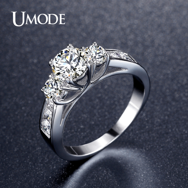 UMODE Hot Classic Three Stone Engagement Rings White Gold Color 1ct