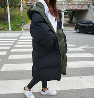 Winter Jacket Over Knee Loose Medium Long Thicken Cotton Padded Women Outerwear Black Arm Green Plus