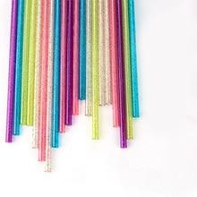 Set of Straight Reusable Plastic Straws