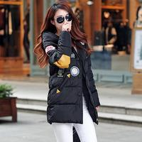 Embroidery Winter Jacket Women Mid Long Warm Hooded Pocket Cotton Padded Parkas Girls Cold Outwear Thicken