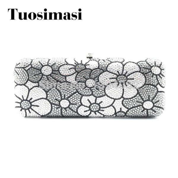 Grey and white color flower pattern ladies handmade crystal rhinestone evening clutch purse bag women marulong s0002 women s fashionable flower pattern short sleeved nightdress green multi color