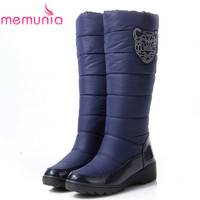 MEMUNIA Grande taille 35-44 nouveau mode bottes Russie garder au chaud femmes neige bottes bout rond plate-forme genou hautes bottes de fourrure bottes d'hiver