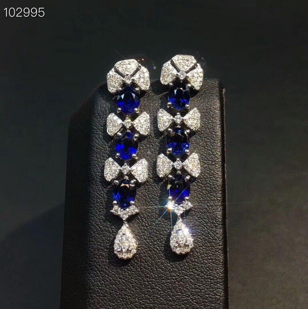 MeiBaPJ Luxury Sri Lanka Sapphire Gemstone Drop Earrings Real 925 Silver Fashion Earrings Fine Charm