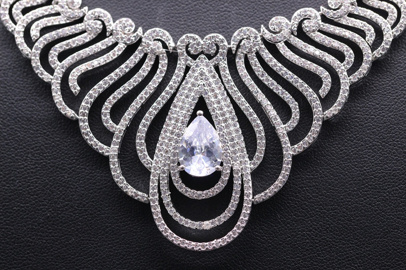 GZJY Top Quality White Gold Color Multi Shape African CZ Stones Big Wedding Bridal Costume Jewelry Sets For Women Party