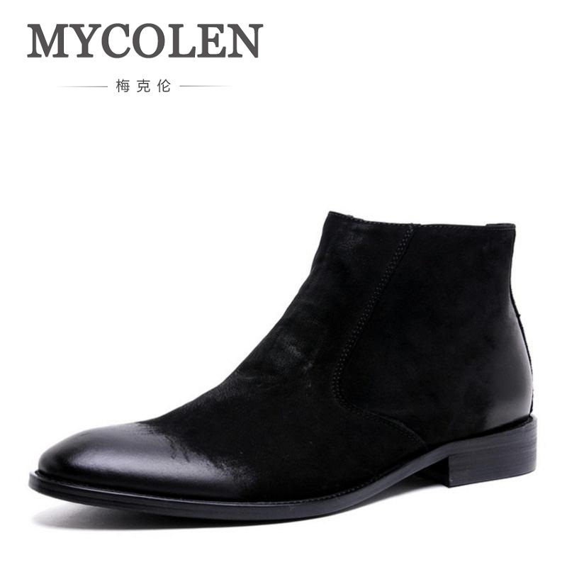 MYCOLEN High Quality Genuine Leather Winter Men Shoes Ankle Leather Chelsea Boots Winter Men Boots Brand Fashion Male Boots 2018 fr lancelot new design winter men ankle boots genuine leather men short boots luxury brand men black men high chelsea boots
