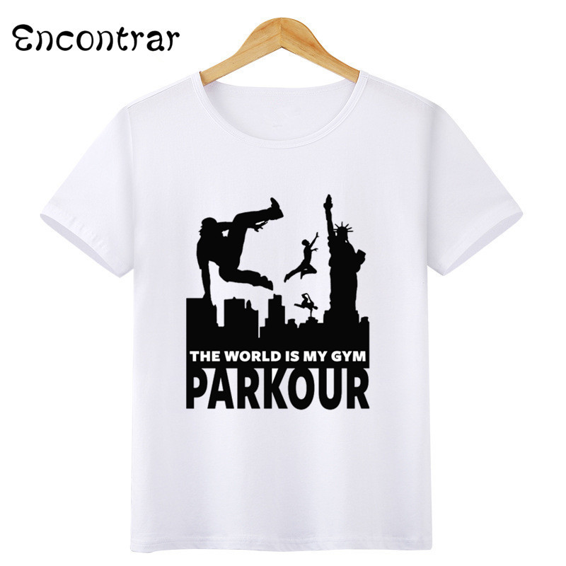 Kids Parkour Design T Shirt Boys/Girls Casual Short Sleeve Tops Children's Funny White T-Shirt,HKP6056 smc pneumatic actuator vacuum chuck plastic suction cup zpt08unk6 n4 a8