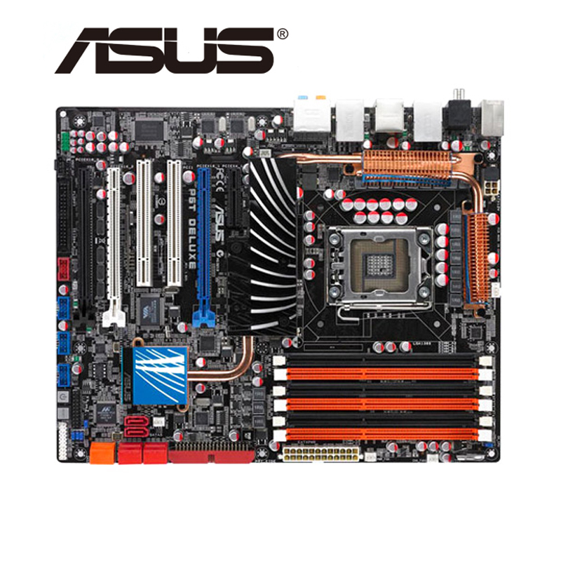 LGA 1366 For ASUS P6T Deluxe Motherboard DDR3 24GB For Intel X58 P6T Deluxe Desktop Mainboard PCI E X16 Support 3 Channels Used
