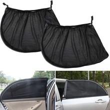 цена на 2pcs Car Rear Side Window Sun Visor Shade Cover Sunshade Curtain Shield UV Protection Auto Sun Shade Black Mesh Fabric