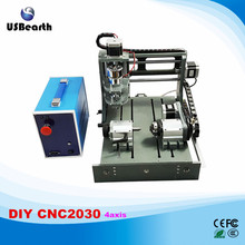 2017 DIY cnc Engraving Machine 2030 2 in 1 4axis mini lathe for wood metal stone