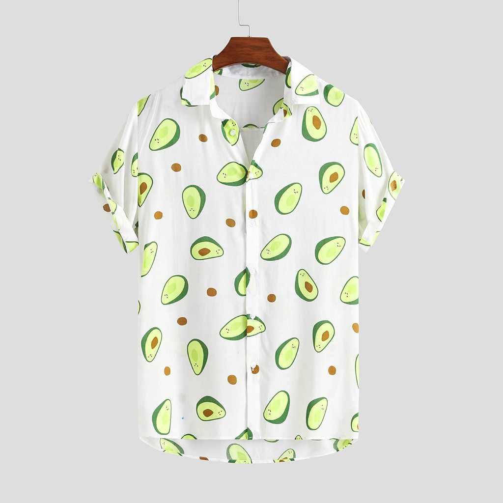 Kemeja Hawaii Pria Lucu Alpukat Dicetak Kerah Lengan Pendek Kemeja Kasual Pria Tombol Streetwear Beach Kemeja Camisa